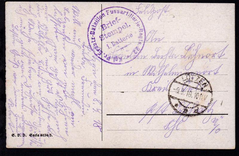 Lötzen Ost. LÖTZEN **d 9.9.18 + Briefstempel  Kgl. Pr. Ersatz-Batallion