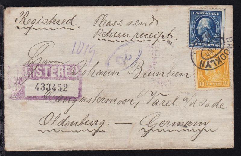 Persönlichkeiten 5 C. (dreiseitig gezähnt) und 10 C. auf R-Brief ab New York