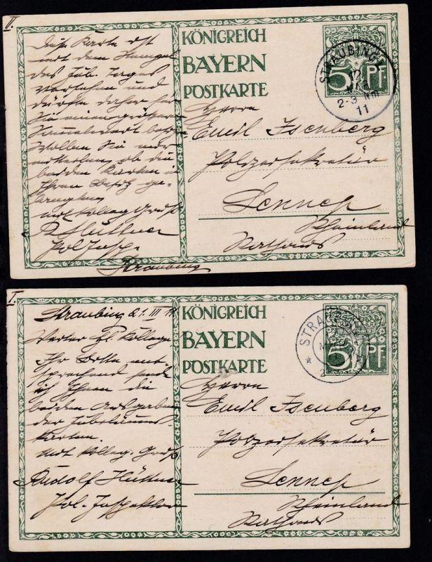 90. Geburtstag Prinzregent Luitpold beide Karten ab Straubing 12 MAR 11 nach