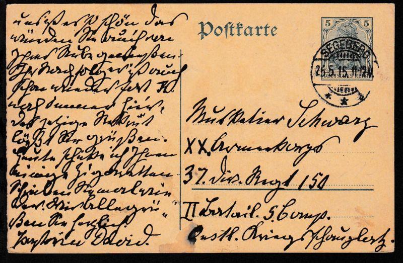 Germania 5 Pfg. ab Segeberg 26.5.15 an Feldpost-Adresse