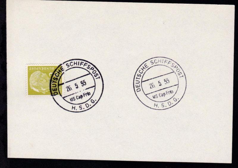 1954/55 H.S.D.G. 6 postkartengrosse Stempelblätter (je mit 2 Pfg. Heuss) mit