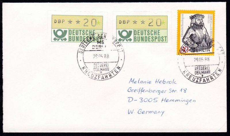 DEUTSCHE SCHIFFSPOST MS BERLIN REEDEREI DEILMANN a KREUZFAHRTEN 29.05.88
