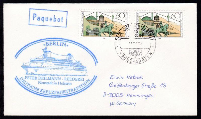 DEUTSCHE SCHIFFSPOST MS BERLIN REEDEREI DEILMANN a KREUZFAHRTEN 11.07.88 +