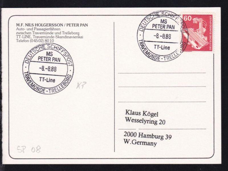 DEUTSCHE SCHIFFSPOST MS PETER PAN TT-Line TRAVEMÜNDE-TRELLEBORG 8.8.88 auf CAK