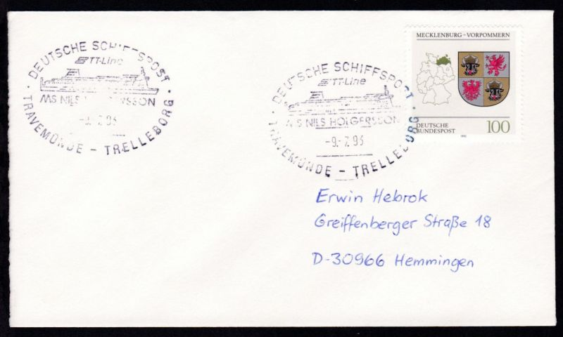 DEUTSCHE SCHIFFSPOST TT-Line MS NILS HOLGERSSON TRAVEMÜNDE-TRELLEBORG 9.7.93