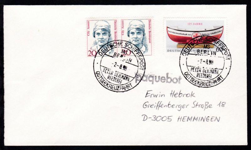DEUTSCHE SCHIFFSPOST MS BERLIN PETER DEILMANN REEDEREI OSTSEEKREUZFAHRT 2.8.90