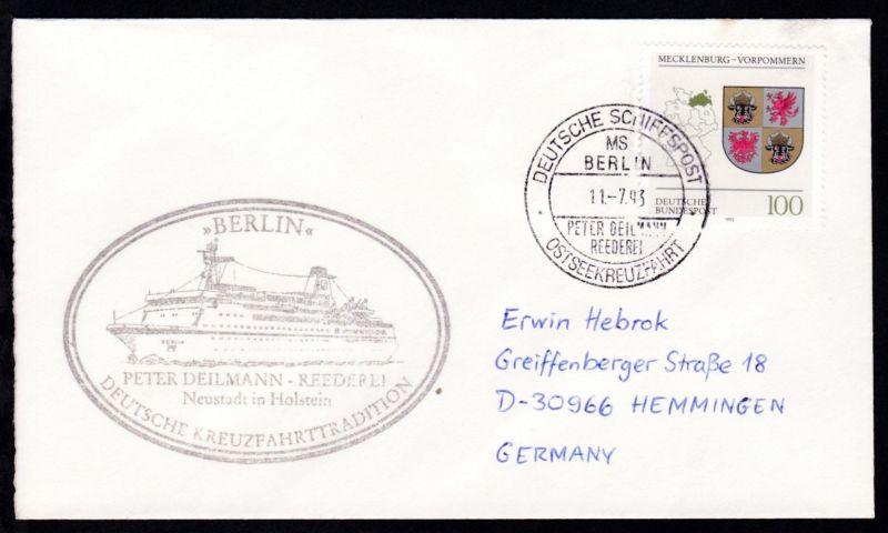 DEUTSCHE SCHIFFSPOST MS BERLIN PETER DEILMANN REEDEREI OSTSEEKREUZFAHRT 11.7.93