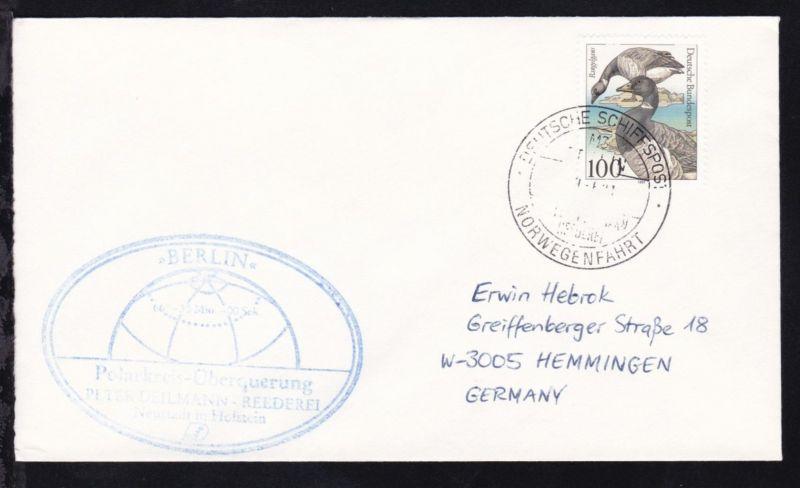 DEUTSCHE SCHIFFSPOST MS BERLIN PETER DEILMANN REEDEREI NORWEGENFAHRT 14.6.91 +