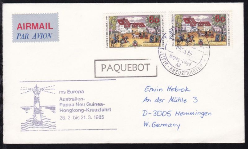 DEUTSCHE SCHIFFSPOST ms Europa Hapag-Lloyd AG PAZIFIK-KREUZFAHRT 03.03.85 +