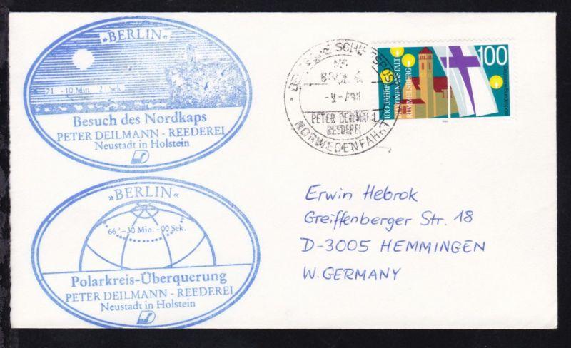 DEUTSCHE SCHIFFSPOST MS BERLIN PETER DEILMANN REEDEREI NORWEGENFAHRT 9.7.90 +