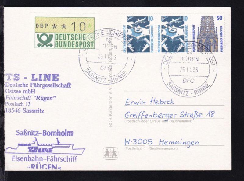 DEUTSCHE SCHIFFSPOST FS RÜGEN DFO SASSNITZ-RÖNNE 25.10.93 + Cachet auf CAK