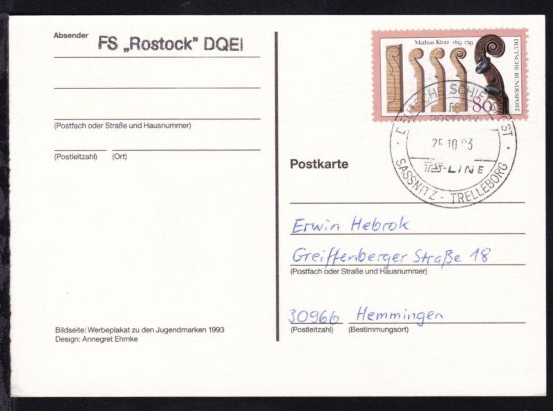 DEUTSCHE SCHIFFSPOST FS ROSTOCK TS-LINE SASSNITZ-TRELLEBORG 25.10.93 + L1