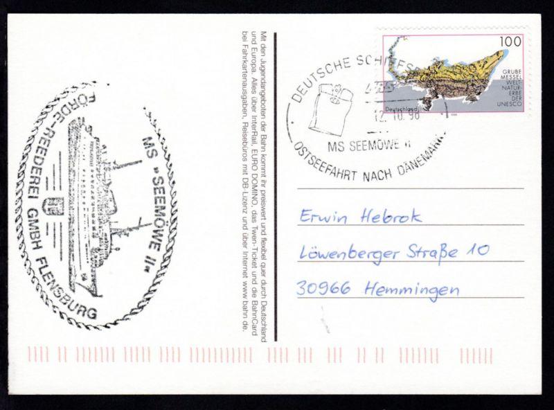DEUTSCHE SCHIFFSPOST FRS MS SEEMÖWE II OSTSEEFAHRT NACH DÄNEMARK 12.10.98 +