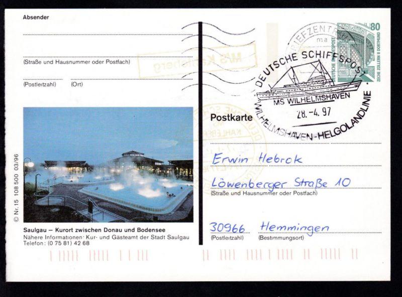 DEUTSCHE SCHIFFSPOST MS WILHELMSHAVEN WILHELMSHAVEN-HELGOLANDLINIE 28.4.97