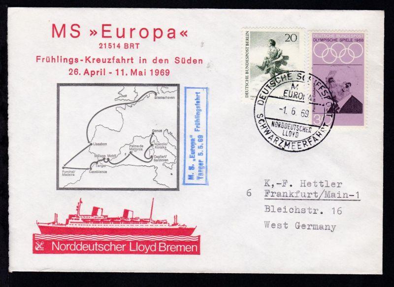 DEUTSCHE SCHIFFSPOST MS EUROPA NORDDEUTSCHER LLOYD SCHWARZMEERFAHRT 1.6.69