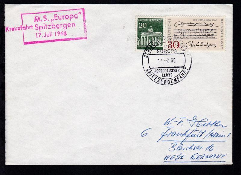 DEUTSCHE SCHIFFSPOST MS EUROPA NORDDEUTSCHER LLOYD SPITZBERGENFAHRT 17.7.68