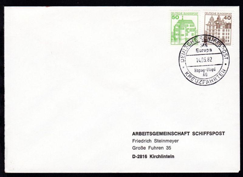 DEUTSCHE SCHIFFSPOST MS Europa Hapag-Lloyd AG KREUZFAHRTEN 14.03.82 auf Brief