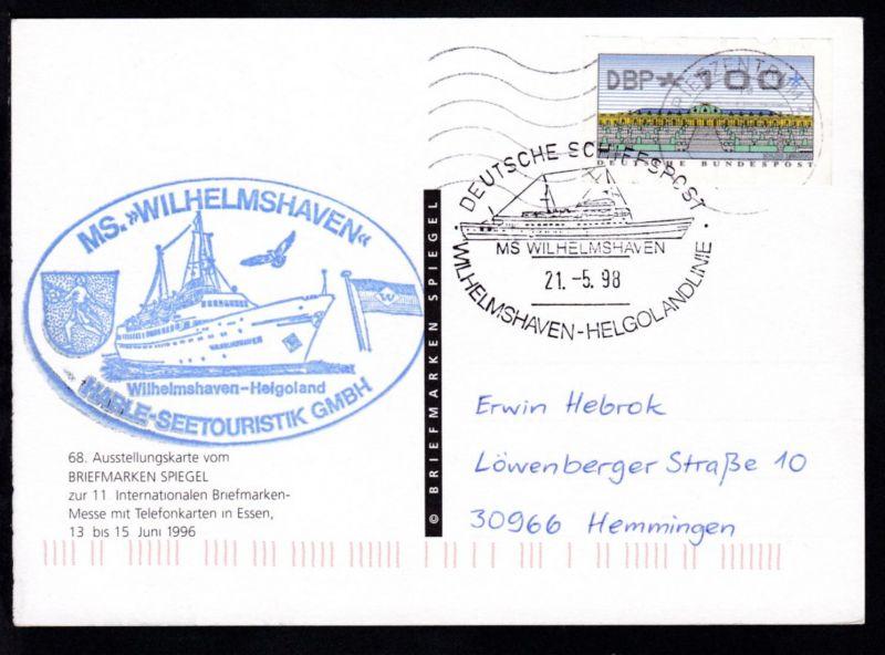 DEUTSCHE SCHIFFSPOST MS WILHELMSHAVEN WILHELMSHAVEN-HELGOLANDLINIE 21.5.98 +