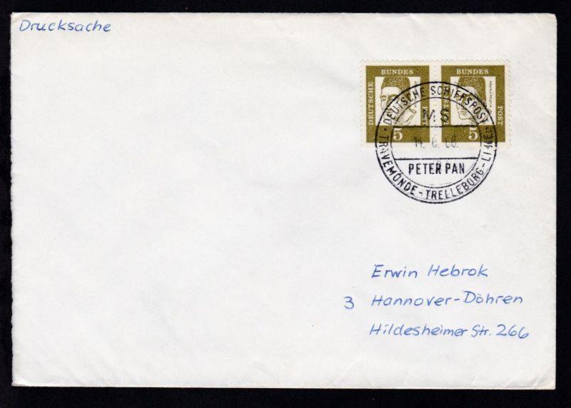 DEUTSCHE SCHIFFSPOST  MS PETER PAN TRAVEMÜNDE-TRELLEBORG-LINIE 14.6.66 auf Brief