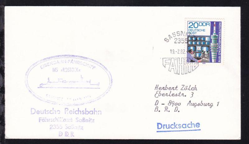 SASSNITZ 2355 FÄHRE 19.2.82 + Cachet MS Rostock auf Brief mit Absenderstempel