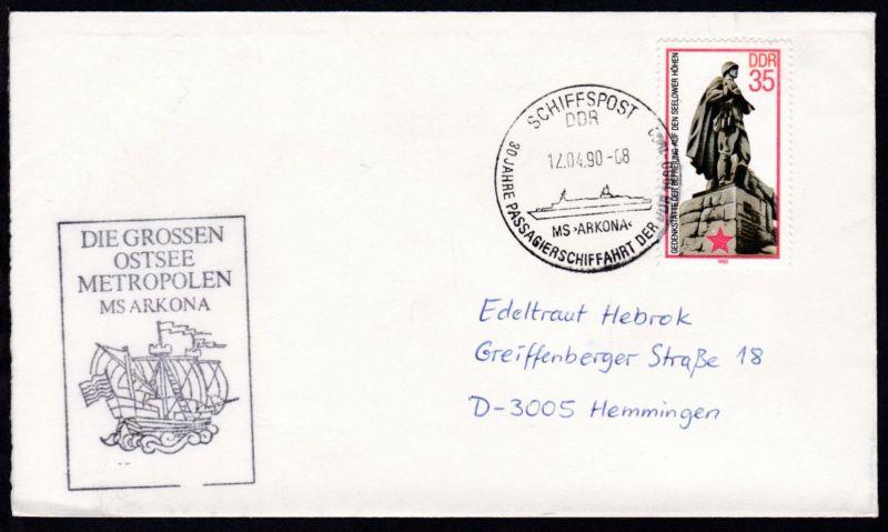 SCHIFFSPOST DDR MS >ARKONA< 30 JAHRE PASSAGIERSCHIFFAHRT DER DDR 1960-1990