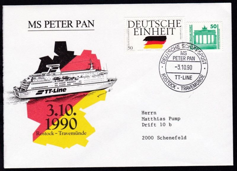 DEUTSCHE SCHIFFSPOST MS PETER PAN TT-LINE ROSTOCK-TRAVEMÜNDE 3.10.90