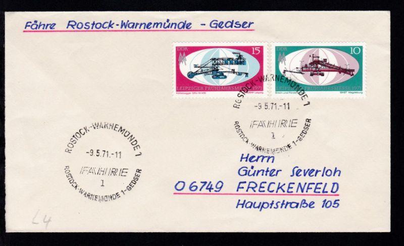 ROSTOCK-WARNEMÜNDE 1 l FÄHRE ROSTOCK-WARNEMÜNDE 1-GEDSER 9.5.71 auf Brief