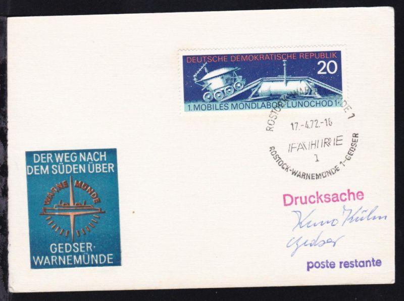 ROSTOCK-WARNEMÜNDE 1 l FÄHRE ROSTOCK-WARNEMÜNDE 1-GEDSER 17.4.72 auf Postkarte