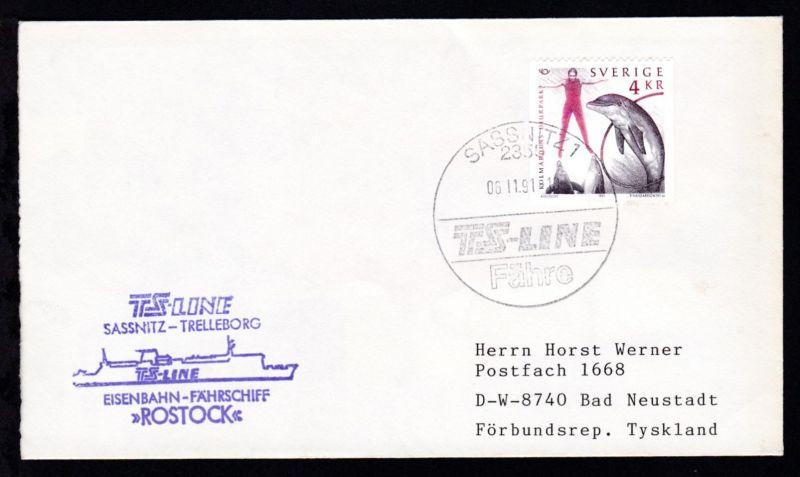 SASSNITZ 2355 TS-LINE FÄHRE 06.11.91 + Cachet FS Rostock auf Brief