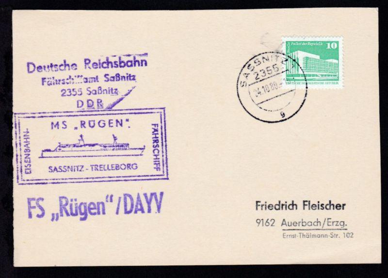 OSt. Sassnitz 24.10.80 + Cachet MS Rügen auf Postkarte