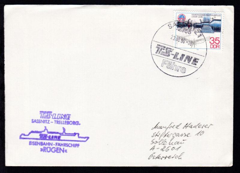 SASSNITZ 1 2355 TS-LINE Fähre 23.06.90 + Cachet MS Rügen auf Brief