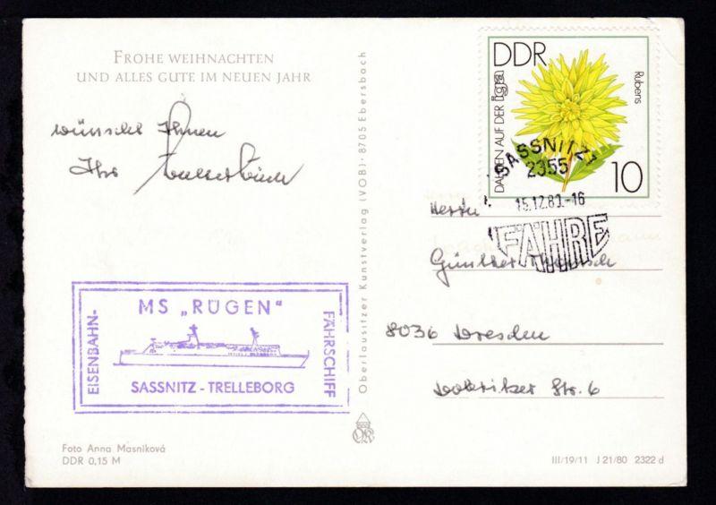 SASSNITZ 2355 FÄHRE 15.12.80 + Cachet MS Rügen auf Weihnachtskarte