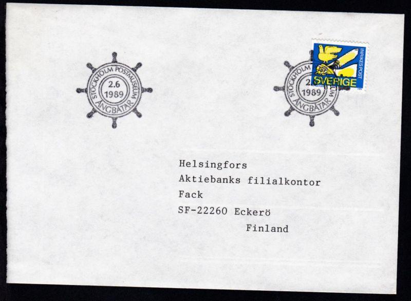 STOCKHOLM POSTMUSEUM ANGBATAR 2.6.1989 auf Brief