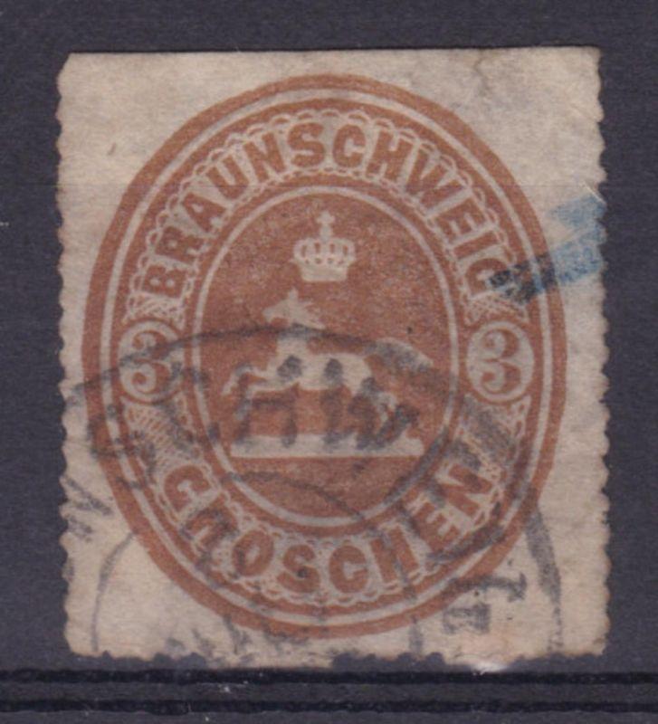Wappen 3 Gr. mit K2 BRAUNSCHWEIG 8 JULI, Marke oben geschnitten
