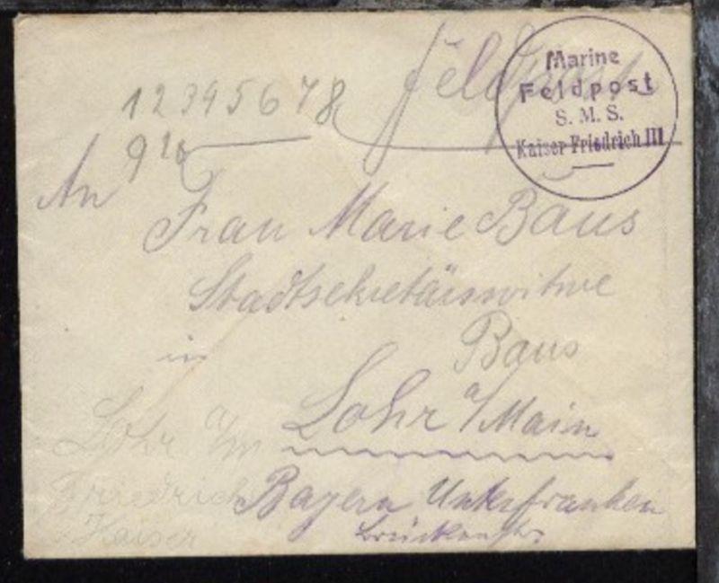 zu MSP 64 viol. K1 Marine-Feldpost SMS Kaiser Friedrich III auf FP-Bf.