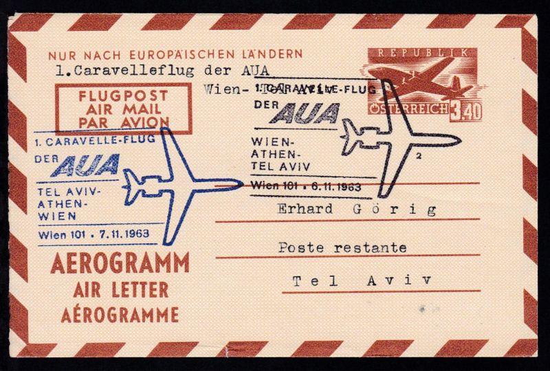 Aerogramm 3,40 S. als AUA-Erstflugbrief Wien-Tel Aviv 6.11.1963