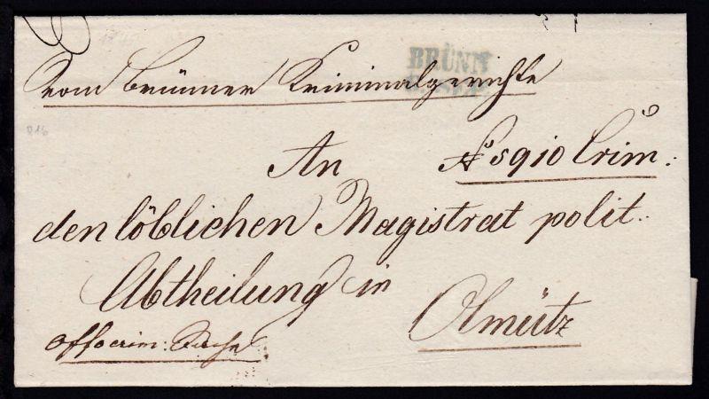 1849 L2 BRÜNN 6. SEP. auf Dienstbrief des Brünner Criminalgerichts