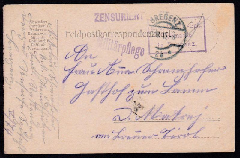 OSt. Bregenz 23.XII.15 + R3 k.u.k. Res.-Spit. Kommando in Bregenz