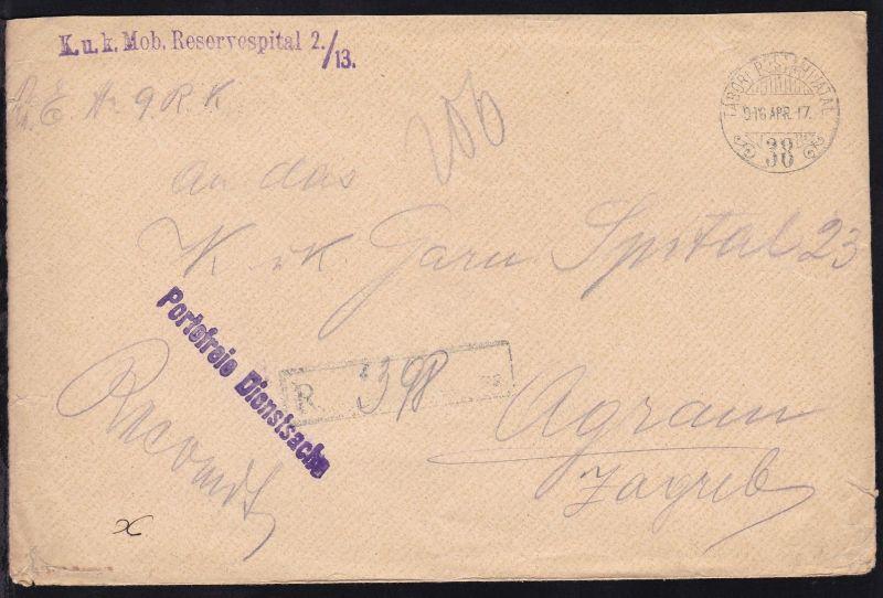 TABORI POSTAHITAVAL 38 916 APR. 17 + L1 K.u.K. Mob. Reservespital 2./13.