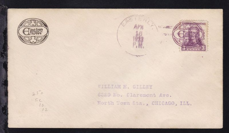 Maschinenstempel EASTERLY APR 16 1933 + Osterei-Figuren-Stempel auf Brief