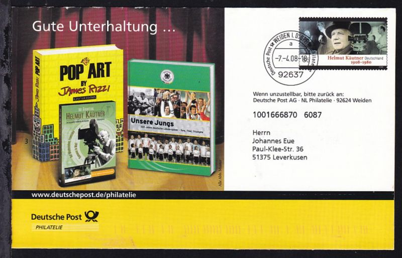 Eigenausgaben der Deutschen Post AG mit Vorausentwertungen, 10 verschiedene