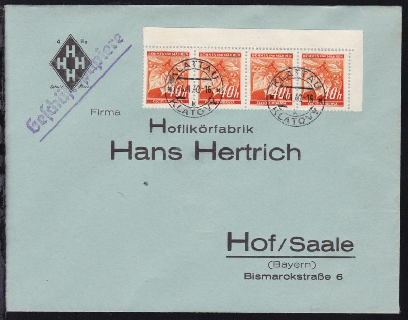 Lindenzweig 40 H. waager. Eckrand-Viererstreifen auf Sammlerbrief ab Klattau