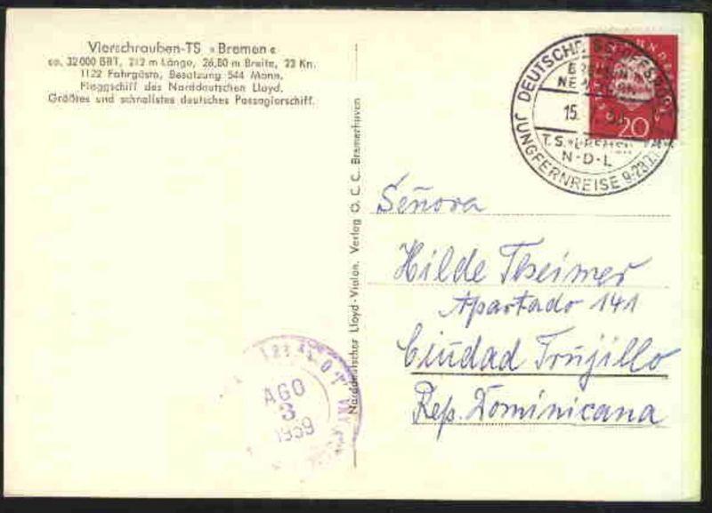 DSP BREMEN-NEW YORK TS BREMEN NDL JUNGFERNREISE 9.-28.7.1959 15.7.59 auf AK des