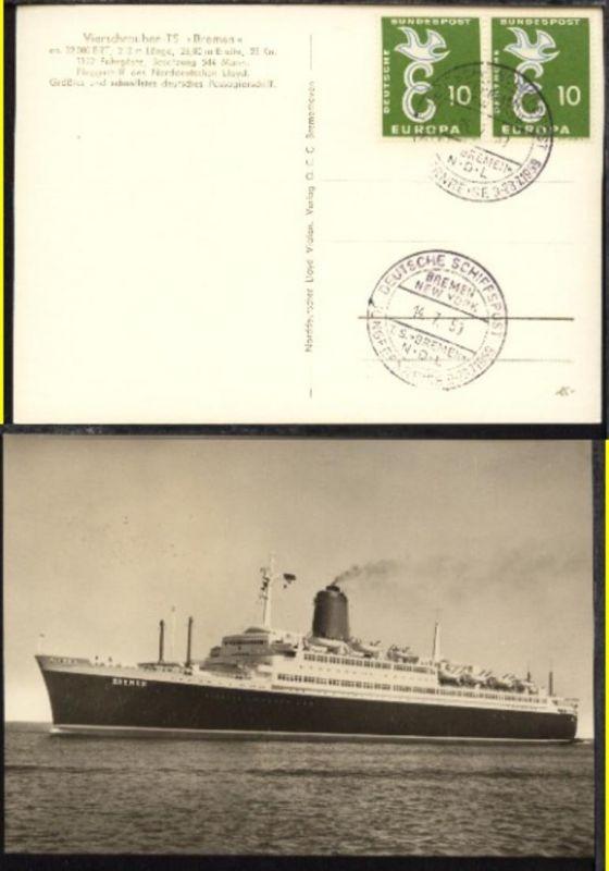 DSP BREMEN-NEW YORK TS BREMEN NDL JUNGFERNREISE 9.-28.7.1959 14.7.59