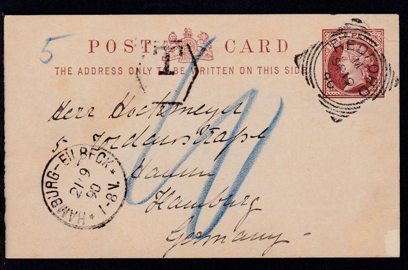 Königin Viktoria ½ P. ab Redford SP 19 90 nach Hamburg mit Nachgebühr