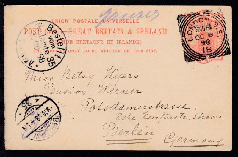 Königin Viktoria 1 P. ab London OC 8 98 nach Berlin, Karte Mittelbug