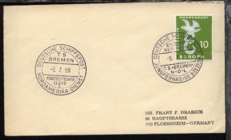 DSP BREMEN-NEW YORK TS BREMEN NDL JUNGFERNREISE 9.-28.7.1959 9.7.59 +