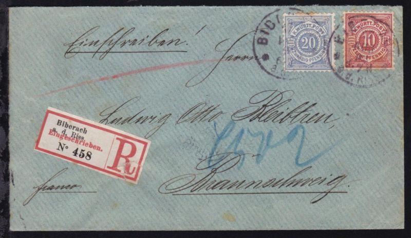 Ziffer 10 und 20 Pfg. auf R-Brief mit K1 BIBERACH 17 AUG 98 nach Braunschweig