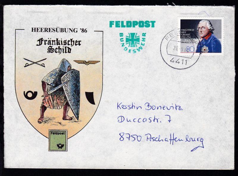 FELDPOST 4411 20.9.86 auf Sonderumschlag Heeresübung 86 Fränkischer Schild