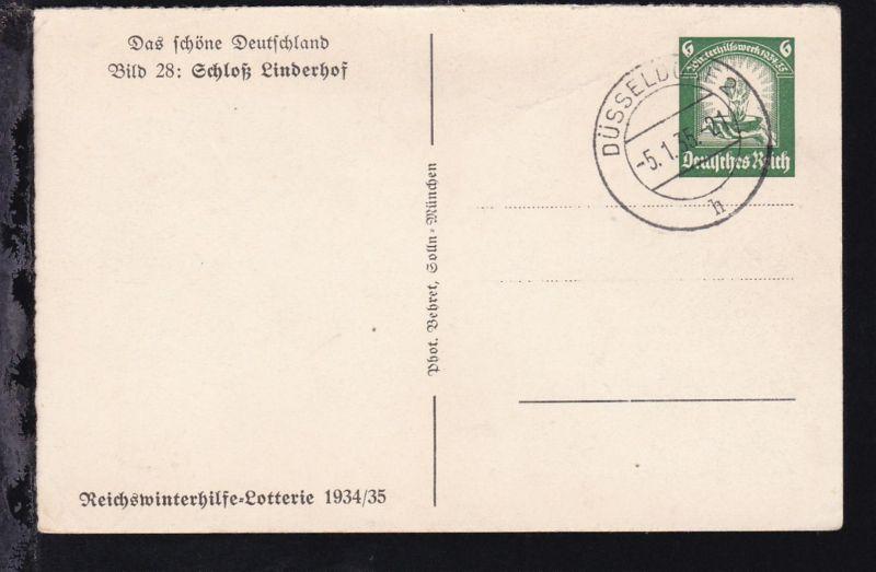 Winterhilfe mit Bild 28: Schloß Linderhof mit Blanko-Stempel Düsseldorf 5.1.35